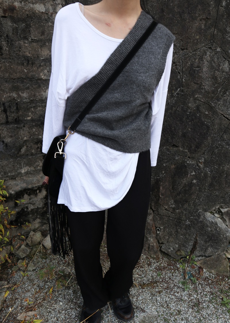 one shoulder knit vest