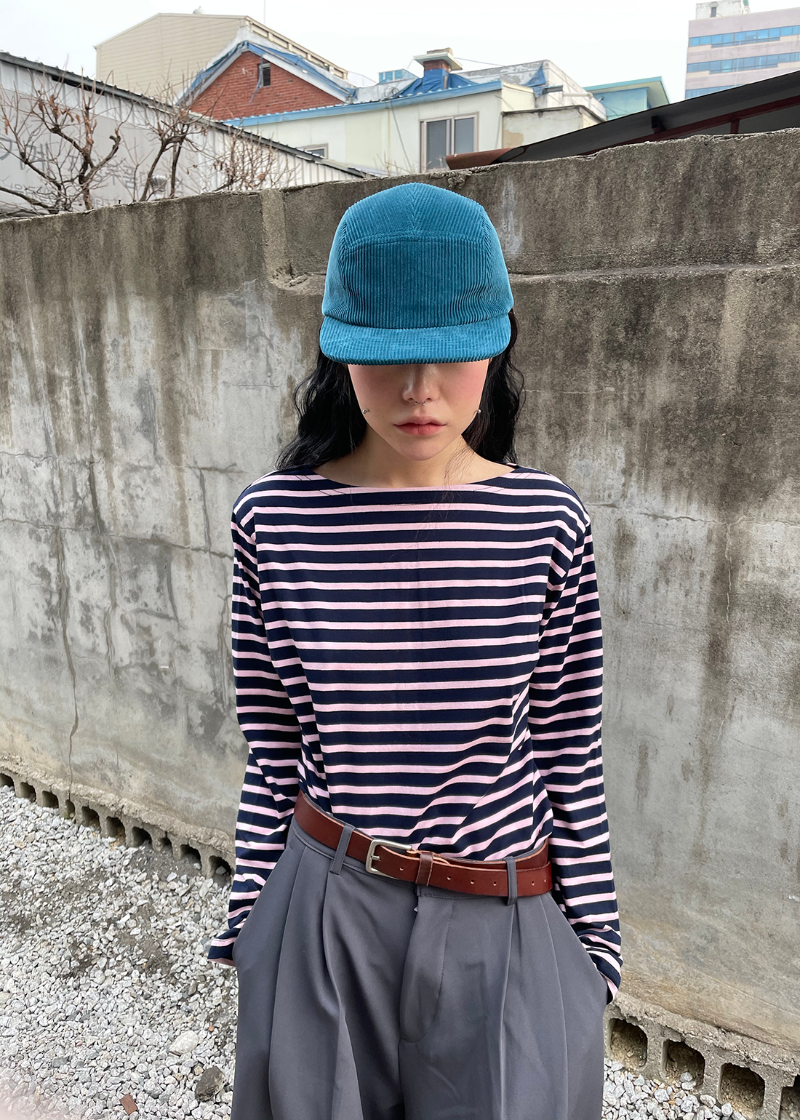 stripe boat neck T